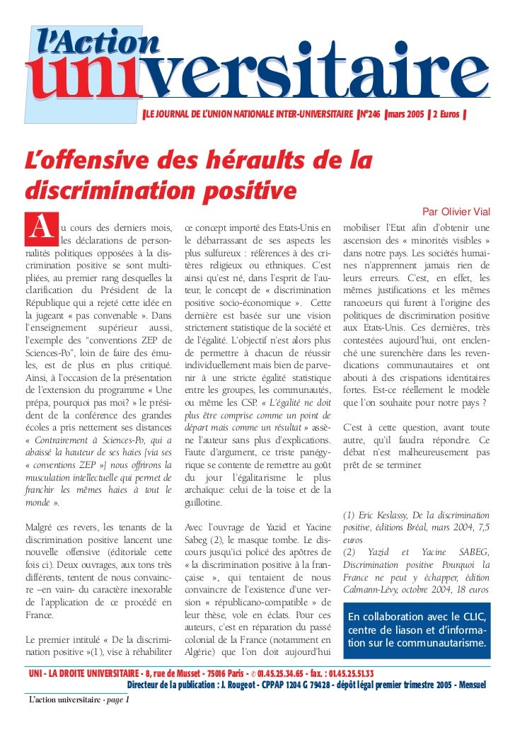 l'Actionuniversitaire                     ❚ LE JOURNAL DE L'UNION NATIONALE INTER-UNIVERSITAIRE ❚ N°246 ❚ mars 2005 ❚ 2 Eu...