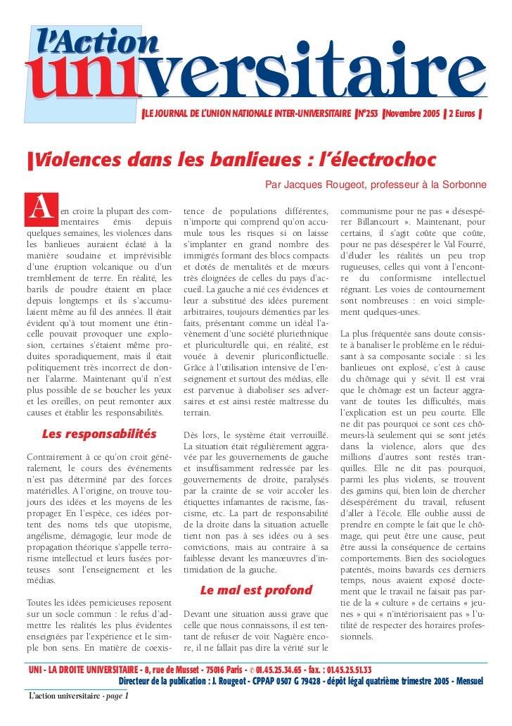 l'Actionuniversitaire                     ❚ LE JOURNAL DE L'UNION NATIONALE INTER-UNIVERSITAIRE ❚ N°253 ❚ Novembre 2005 ❚ ...