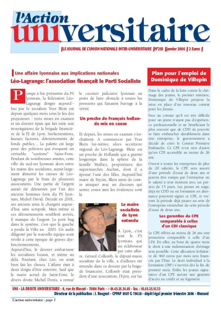 l'Actionuniversitaire                     ❚ LE JOURNAL DE L'UNION NATIONALE INTER-UNIVERSITAIRE ❚ N°255 ❚ janvier 2006 ❚ 2...