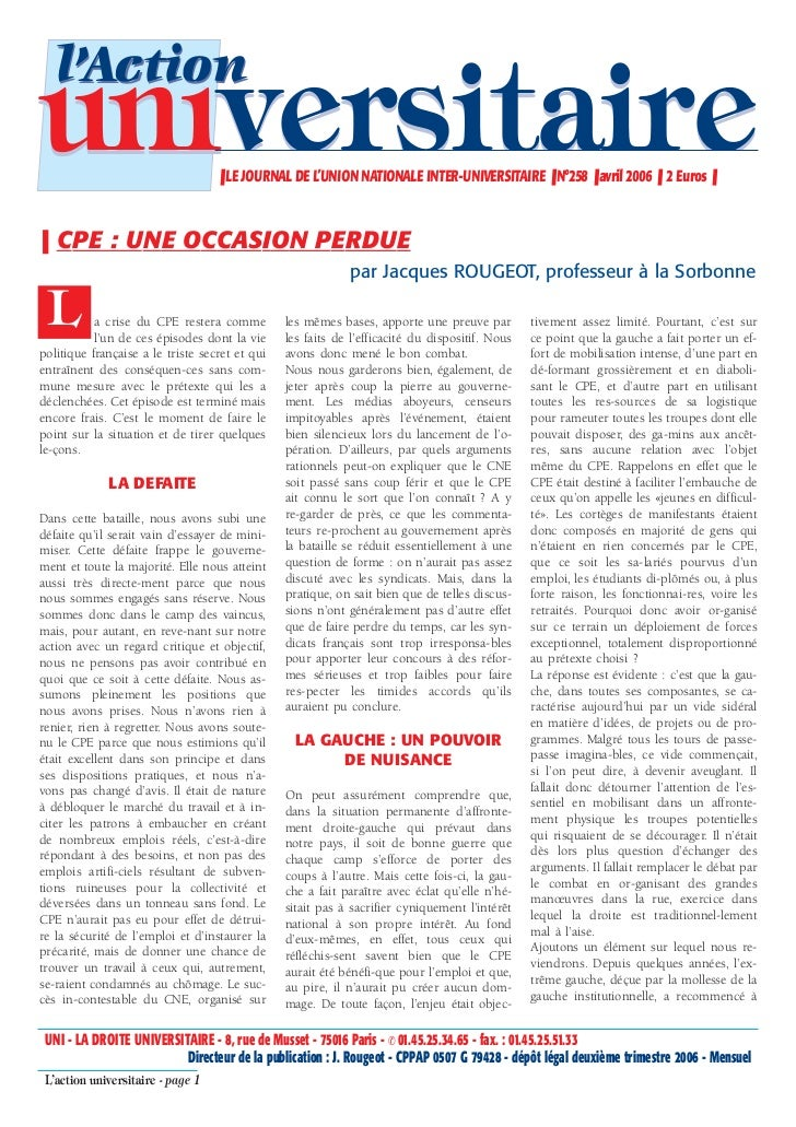 l'Actionuniversitaire                      ❚ LE JOURNAL DE L'UNION NATIONALE INTER-UNIVERSITAIRE ❚ N°258 ❚ avril 2006 ❚ 2 ...
