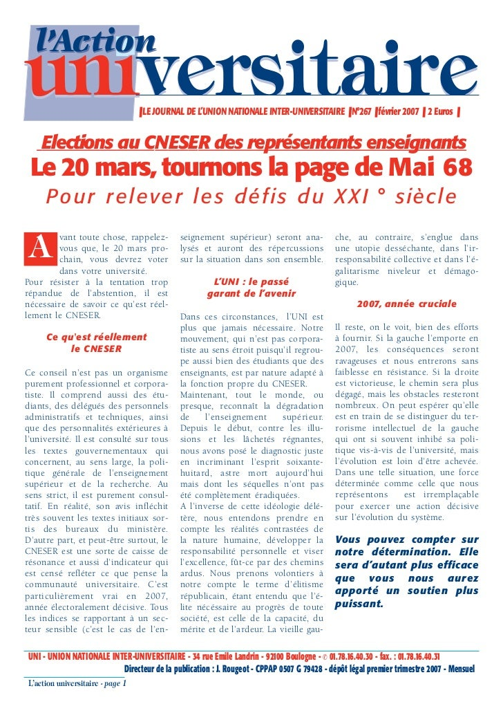 l'Actionuniversitaire                     ❚ LE JOURNAL DE L'UNION NATIONALE INTER-UNIVERSITAIRE ❚ N°267 ❚ février 2007 ❚ 2...