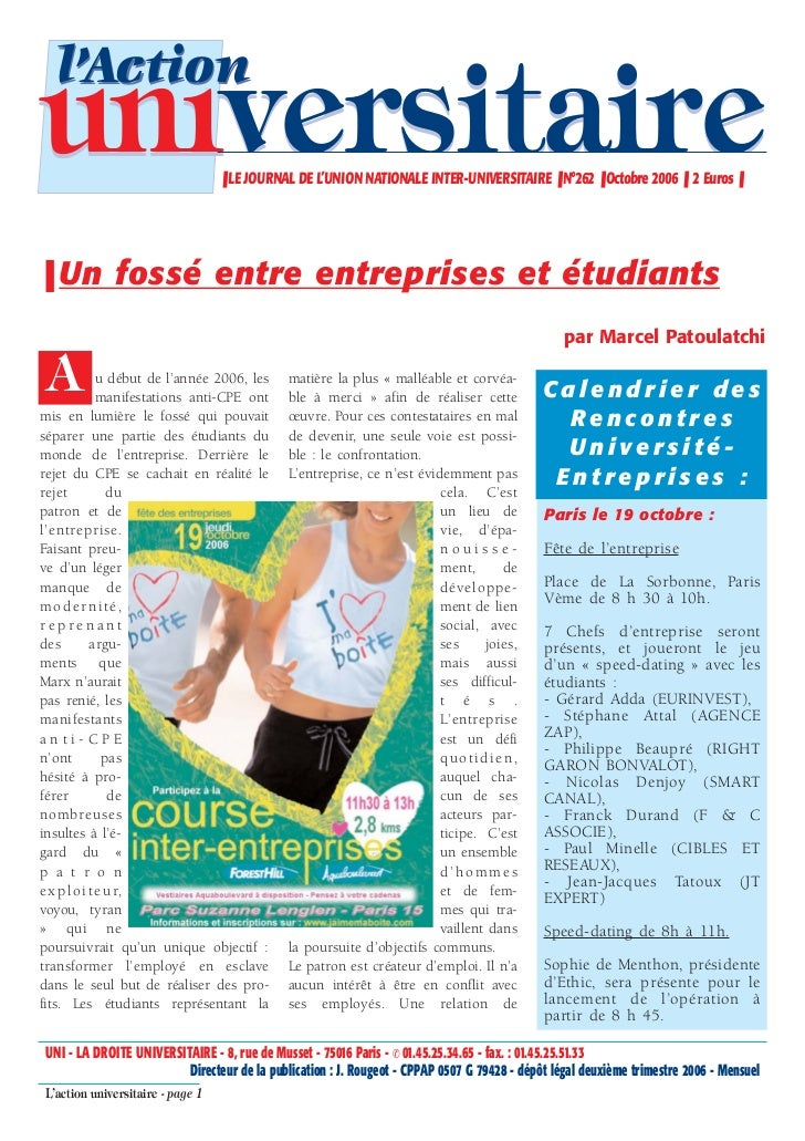 l'Actionuniversitaire                     ❚ LE JOURNAL DE L'UNION NATIONALE INTER-UNIVERSITAIRE ❚ N°262 ❚ Octobre 2006 ❚ 2...