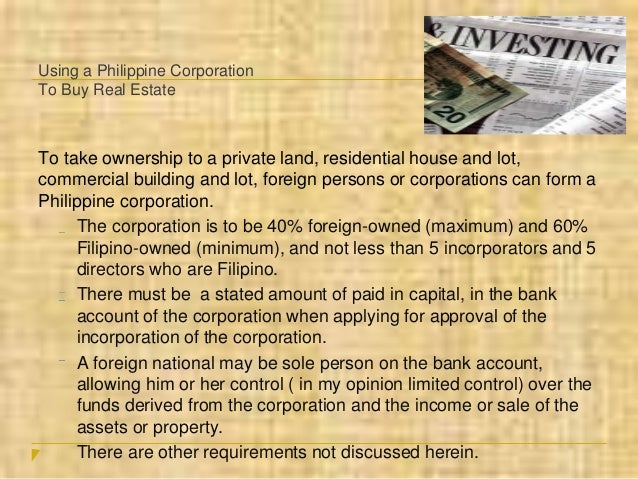 Can Foreigners Buy A Property In The Philippines