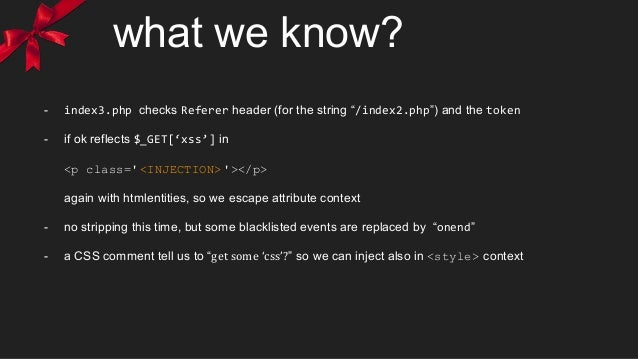 """what we know? - index3.php checks Referer header (for the string """"/index2.php"""") and the token - if ok reflects $_GET['xss'..."""
