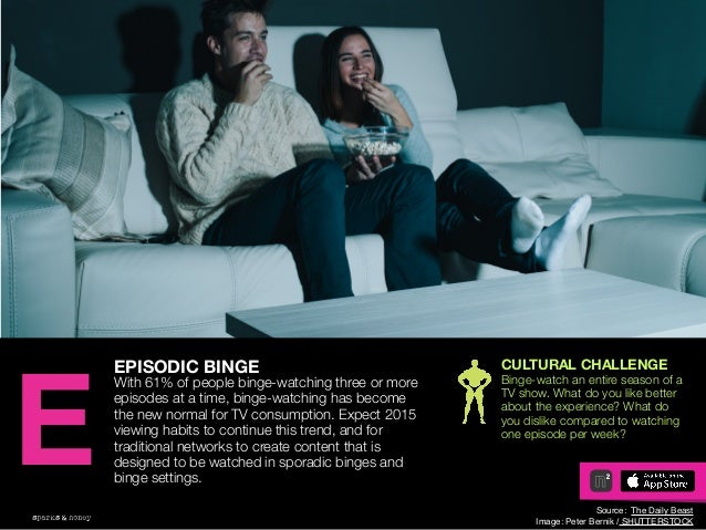 AGENCY OF RELEVANCE EPISODIC BINGE With 61% of people binge-watching three or more episodes at a time, binge-watching has ...