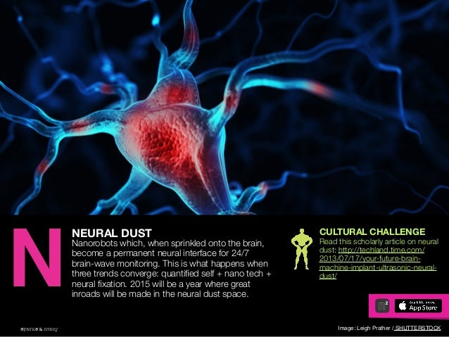 AGENCY OF RELEVANCE NEURAL DUST Nanorobots which, when sprinkled onto the brain, become a permanent neural interface for 2...