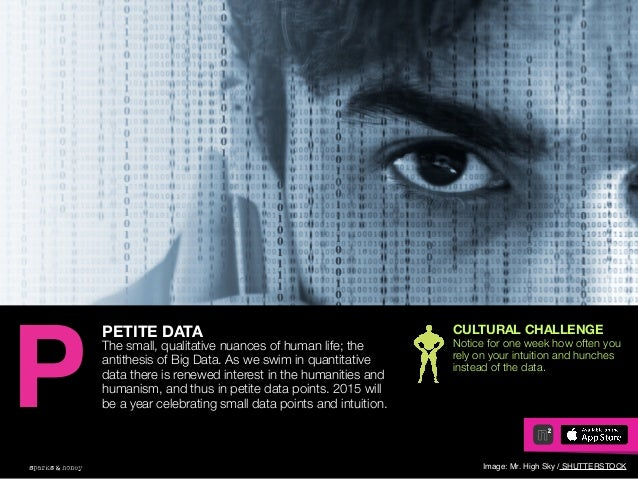 AGENCY OF RELEVANCE PETITE DATA The small, qualitative nuances of human life; the antithesis of Big Data. As we swim in qu...