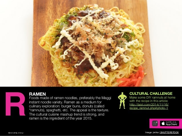 AGENCY OF RELEVANCE RAMEN Foods made of ramen noodles, preferably the Maggi instant noodle variety. Ramen as a medium for ...
