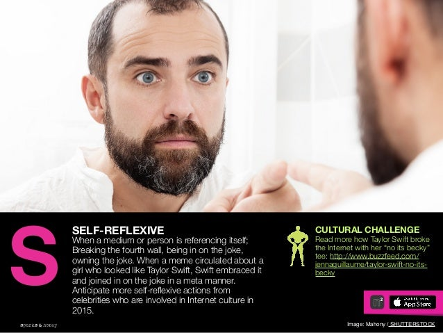 AGENCY OF RELEVANCE SELF-REFLEXIVE When a medium or person is referencing itself; Breaking the fourth wall, being in on th...