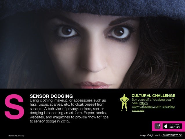 AGENCY OF RELEVANCE SENSOR DODGING Using clothing, makeup, or accessories such as hats, visors, scarves, etc. to cloak one...