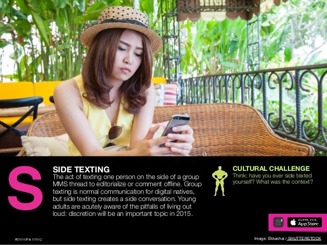AGENCY OF RELEVANCE SIDE TEXTING The act of texting one person on the side of a group MMS thread to editorialize or commen...