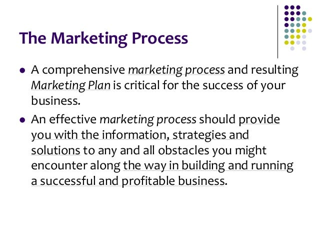 The Marketing Process  A comprehensive marketing process and resulting Marketing Plan is critical for the success of your...