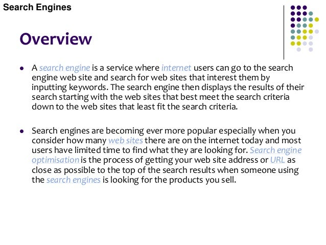 Search Engine Optimisation Search Engines