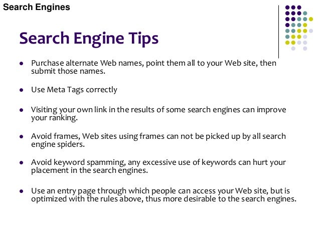Search Engine Urban Legends The list below contains factors that are presumed to improve search engine placement but typic...