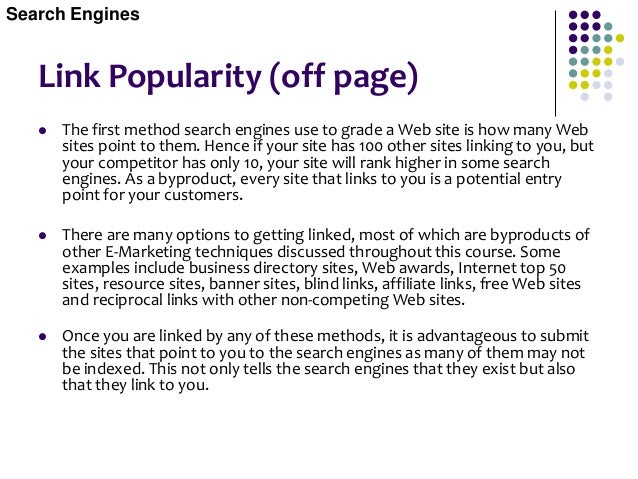 Link Popularity Blind Links  Blind links are links in a Web page that are not visible to the visitor, but visible to the ...