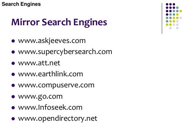 Meta Search Engines  www.metacrawler.com  www.dogpile.com  www.gohip.com  www.thebighub.com  www.mamma.com  www.what...