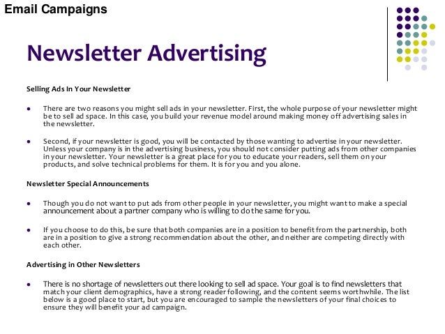 E-Promotions  An E-promotion is an email sent to your own opt-in email list about your specials, discounts, contests, or ...