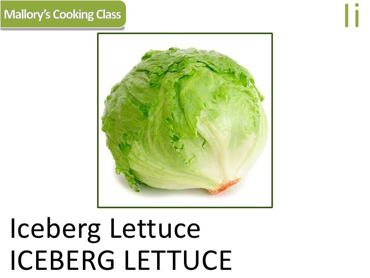 Mallory's Cooking Class<br />Ii<br />Iceberg Lettuce<br />ICEBERG LETTUCE<br />