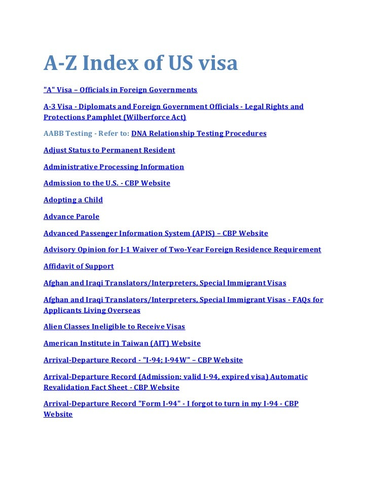 """A-Z Index of US visa""""A"""" Visa – Officials in Foreign GovernmentsA-3 Visa - Diplomats and Foreign Government Officials - Leg..."""