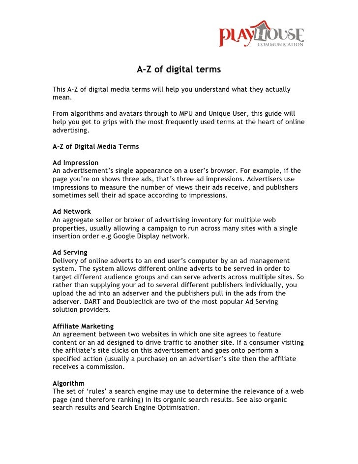 A-Z of digital termsThis A-Z of digital media terms will help you understand what they actuallymean.From algorithms and av...
