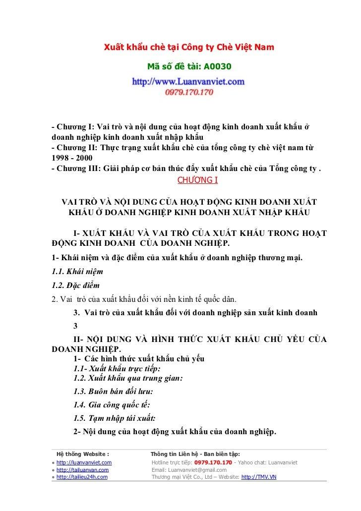 Xuất khẩu chè tại Công ty Chè Việt Nam                              Mã số đề tài: A0030- Chương I: Vai trò và nội dung của...