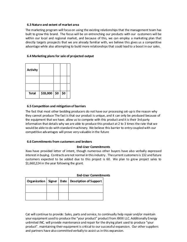 USDA Example Business Plan