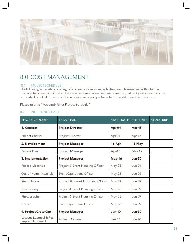 8.3 COST MANAGEMENT The definitive cost plan summarizes using a bottom up (detailed) method for all resources, space, mate...