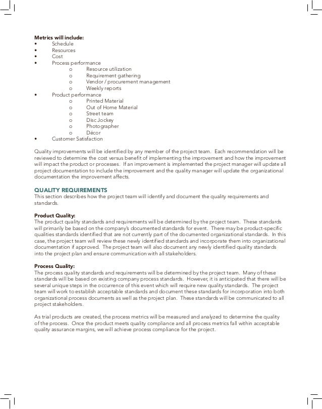 45 15.5 PROJECT QUALITY ASSURANCE The quality assurance of this project focuses on the processes used in the developing, p...