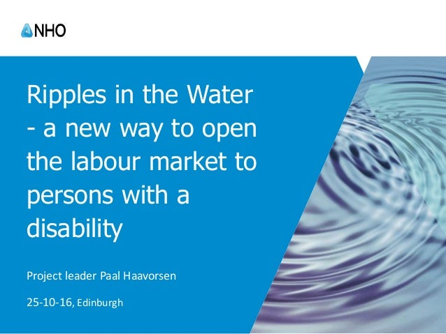 Ripples in the Water - a new way to open the labour market to persons with a disability Project leader Paal Haavorsen 25-1...