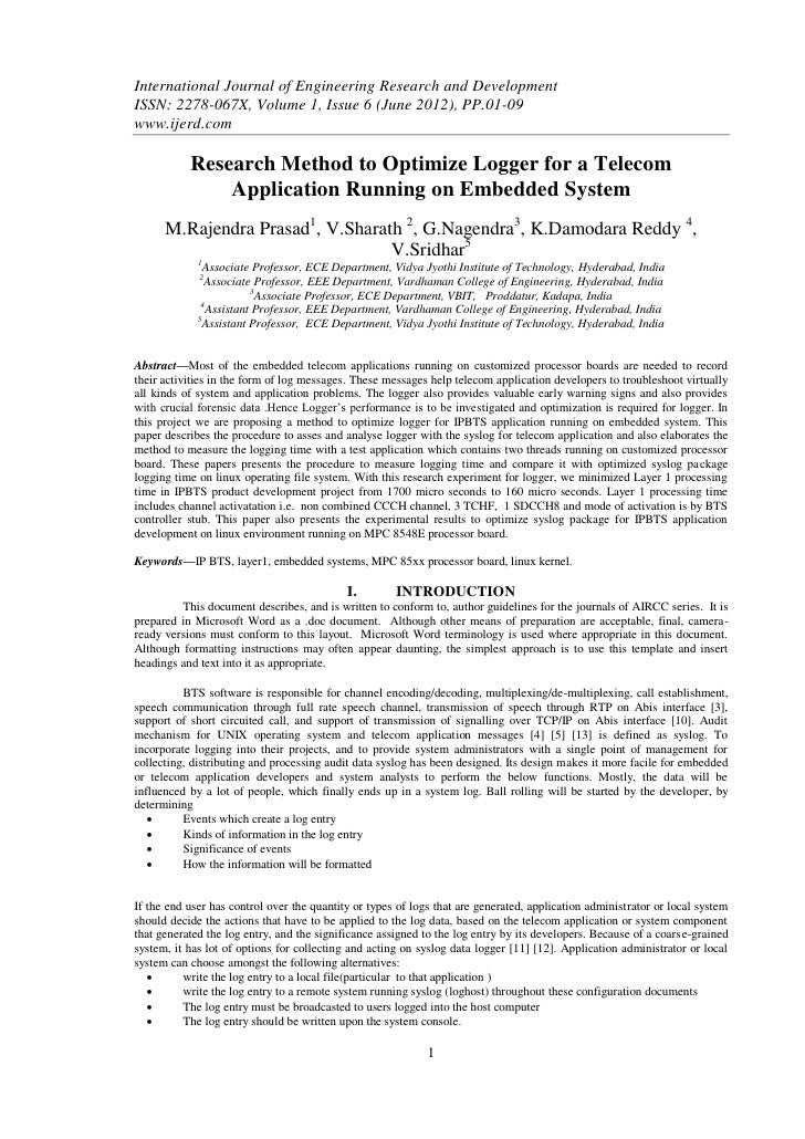 International Journal of Engineering Research and DevelopmentISSN: 2278-067X, Volume 1, Issue 6 (June 2012), PP.01-09www.i...