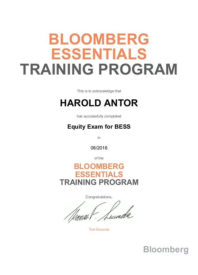 Bloomberg Certification
