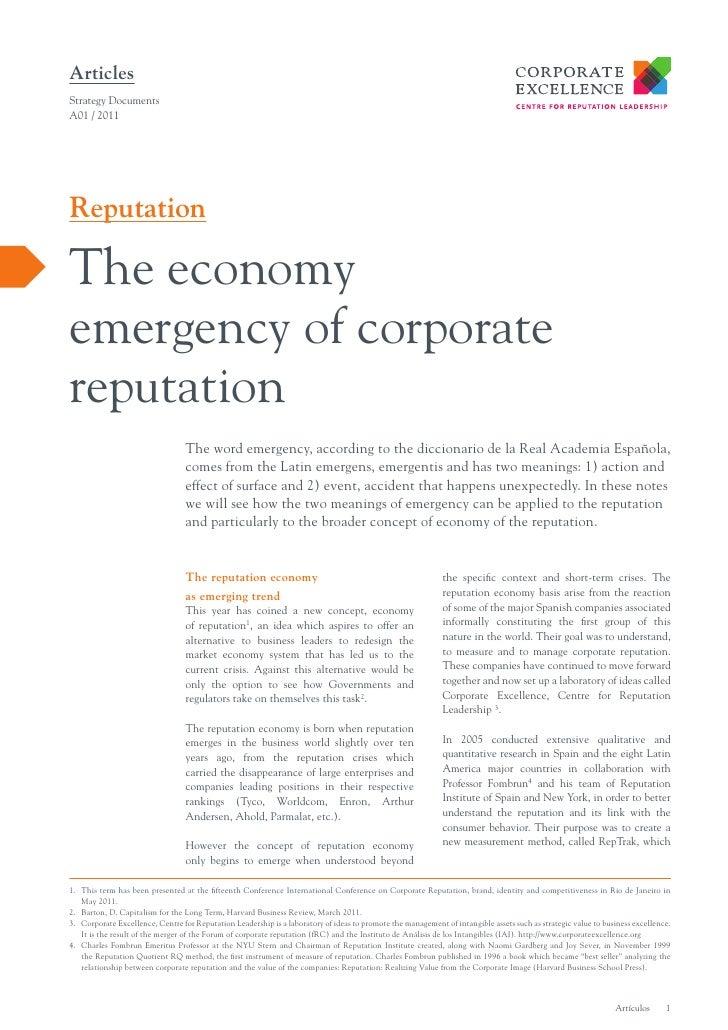 ArticlesStrategy DocumentsA01 / 2011ReputationThe economyemergency of corporatereputation                                 ...