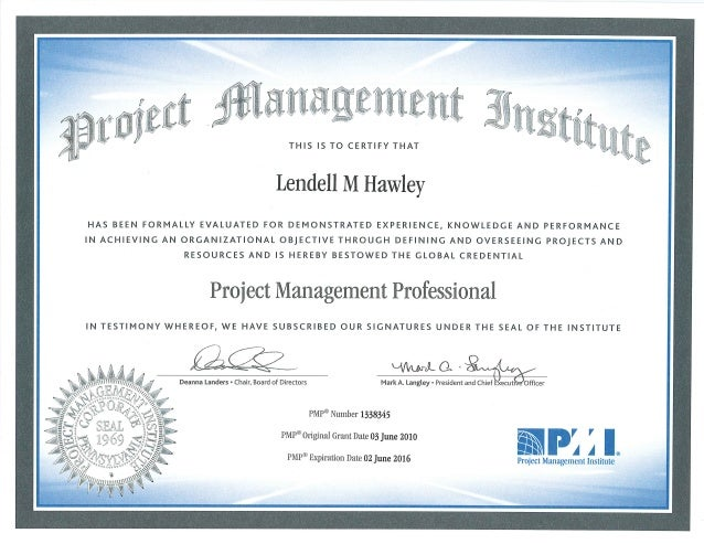 Pmi Project Management Professional Certificate