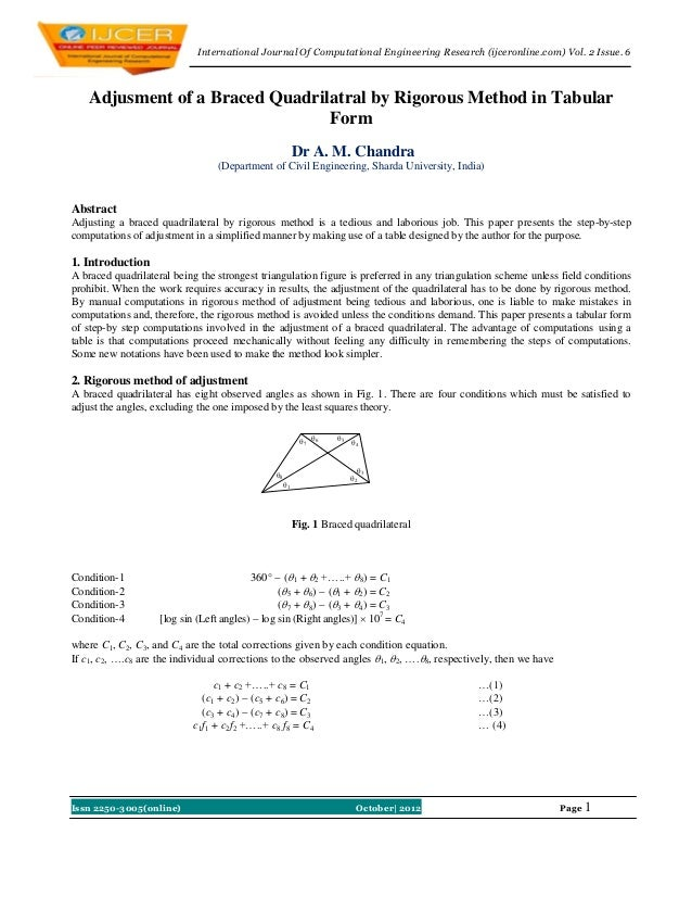International Journal Of Computational Engineering Research (ijceronline.com) Vol. 2 Issue. 6   Adjusment of a Braced Quad...
