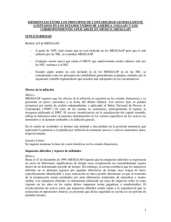 DIFERENCIAS ENTRE LOS PRINCIPIOS DE CONTABILIDAD GENERALMENTE     ACEPTADOS EN LOS ESTADOS UNIDOS DE AMERICA (USGAAP) Y LO...