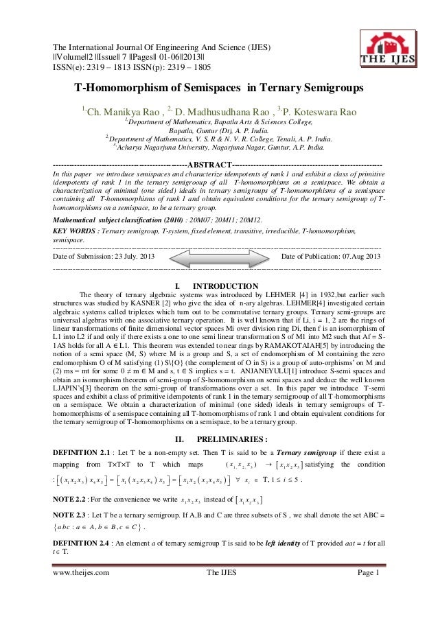 The International Journal Of Engineering And Science (IJES) ||Volume||2 ||Issue|| 7 ||Pages|| 01-06||2013|| ISSN(e): 2319 ...