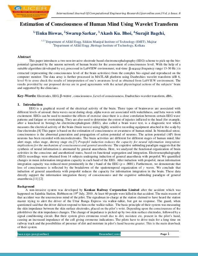 International Journal Of Computational Engineering Research (ijceronline.com) Vol. 2 Issue. 8 Estimation of Consciousness ...