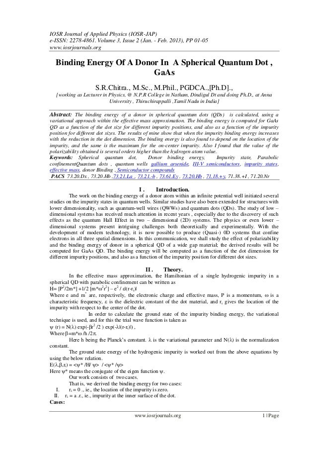 IOSR Journal of Applied Physics (IOSR-JAP)e-ISSN: 2278-4861. Volume 3, Issue 2 (Jan. - Feb. 2013), PP 01-05www.iosrjournal...