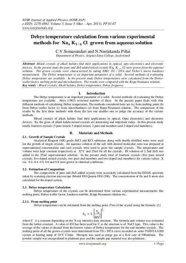 IOSR Journal of Applied Physics (IOSR-JAP) e-ISSN: 2278-4861. Volume 3, Issue 5 (Mar. - Apr. 2013), PP 01-07 www.iosrjourn...