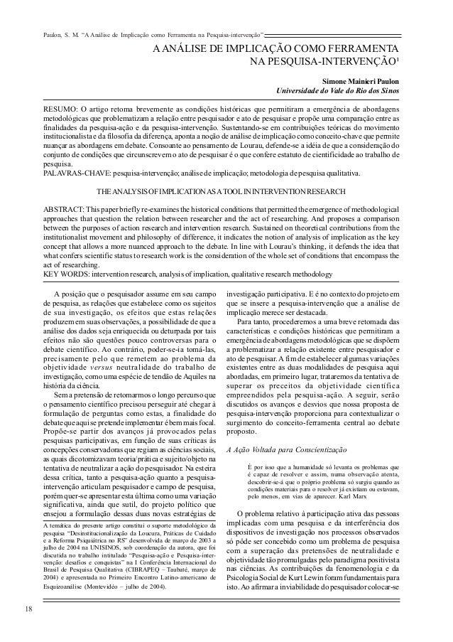 """Paulon, S. M. """"A Análise de Implicação como Ferramenta na Pesquisa-intervenção"""".  18  A ANÁLISE DE IMPLICAÇÃO COMO FERRAME..."""