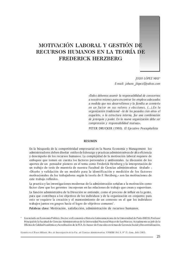 MOTIVACIÓN LABORAL Y GESTIÓN DE                RECURSOS HUMANOS EN LA TEORÍA DE                       FREDERICK HERZBERG  ...