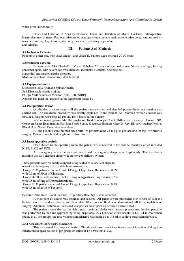 Evaluation of Effect of Low Dose Fentanyl, Dexmedetomidine