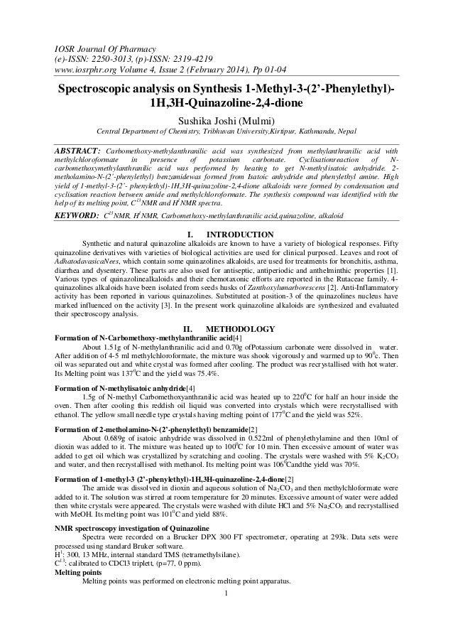 IOSR Journal Of Pharmacy (e)-ISSN: 2250-3013, (p)-ISSN: 2319-4219 www.iosrphr.org Volume 4, Issue 2 (February 2014), Pp 01...