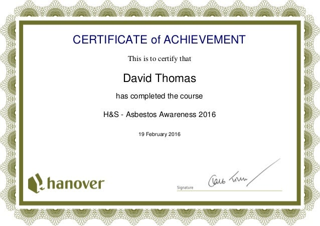 asbestos awareness certificate 2016php certificate of achievement this is to certify that david thomas has completed the course hs