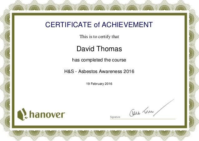 Asbestos Awareness Certificate 2016 Php