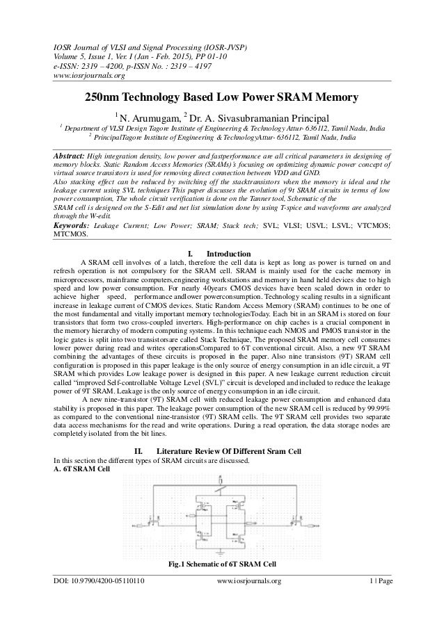 Master thesis low power sram