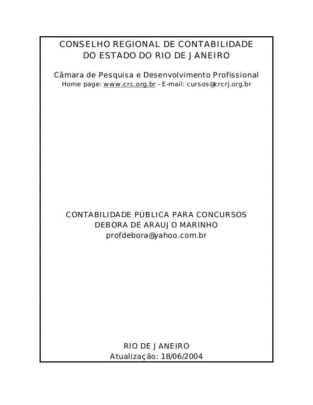 CONSELHO REGIONAL DE CONTABILIDADE     DO ESTADO DO RIO DE JANEIROCâmara de Pesquisa e Desenvolvimento Profissional Home p...