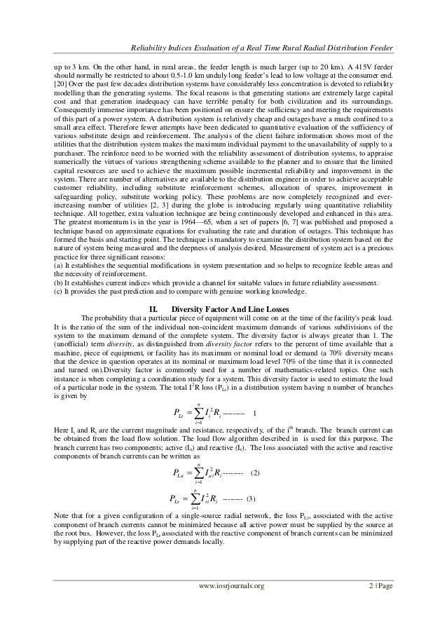 Reliability Indices Evaluation of a Real Time Rural Radial