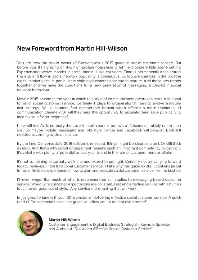 """New Foreword from Martin Hill-Wilson """"You are now the proud owner of Conversocial's 2015 guide to social customer service...."""