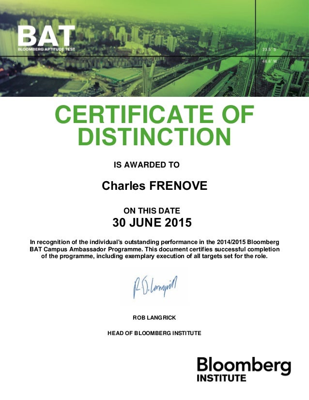 Bloomberg Lp Certificate Of Distinction